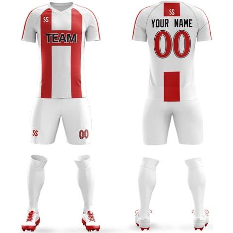 Футбольная форма бело красного цвета Буква H на заказ