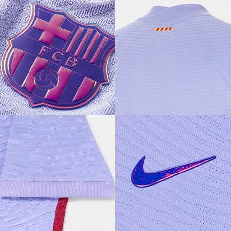 Гостевая аутентичная футболка Барселоны 2021-2022 логотипы