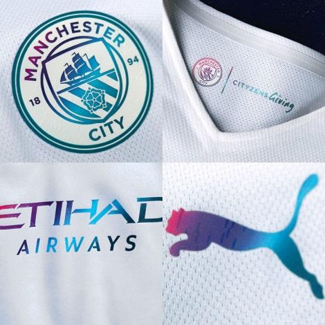 Детская гостевая форма Манчестер Сити 2021-2022 логотипы