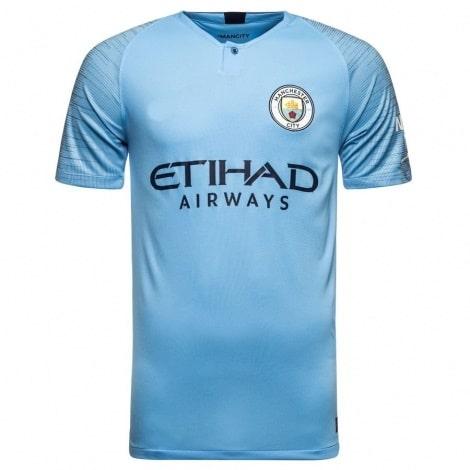 Детская домашняя футболка Де Брёйне номер 17 2018-2019 спереди