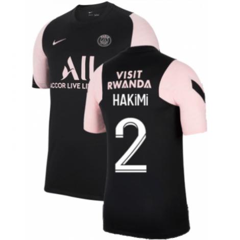Черно-розовая тренировочная футболка HAKIMI ПСЖ 2021-2022