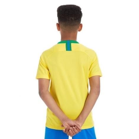 Домашний комплект детской формы Бразилии на ЧМ 2018 желтая футболка сзади