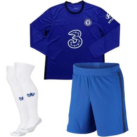 Домашняя форма Челси 2020-2021 c длинными рукавами футболка шорты и гетры