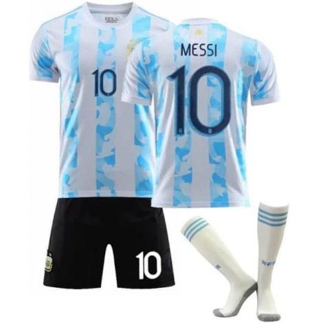 Детская домашняя форма Аргентины Лионель Месси 2020-2021 футболка шорты и гетры