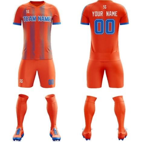 Футбольная форма оранжевого цвета косые линии на заказ