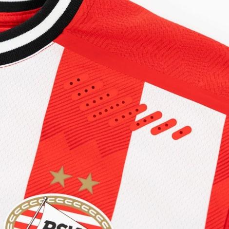Домашняя игровая футболка ПСВ 2020-2021 титульный спонсор герб клуба в близи