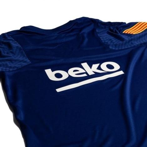 Синяя тренировочная футболка Барселоны 2020-2021 титульный спонсор