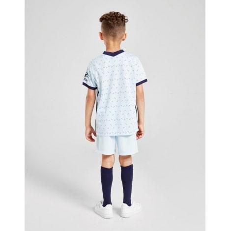 Комплект детской гостевой формы Челси 2020-2021 футболка шорыт и гетры