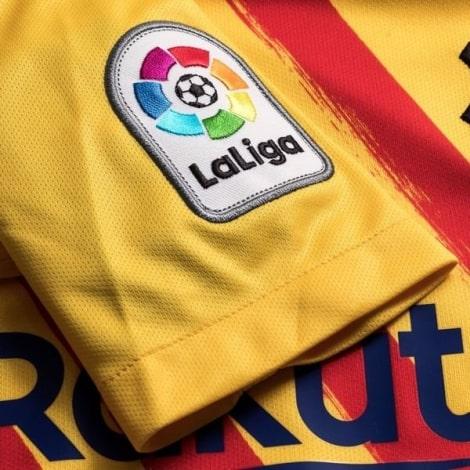 Комплект взрослой четвертой формы Барселоны 2019-2020 футболка патч Ла Лиги на рукаве