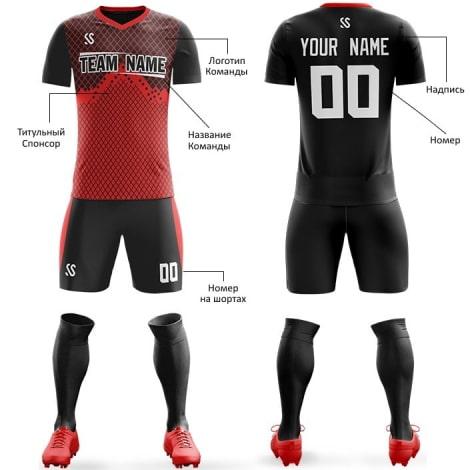 Футбольная форма черно красного цвета Ромбики на заказ