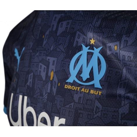 Гостевая игровая футболка Марселя 2020-2021 герб клуба