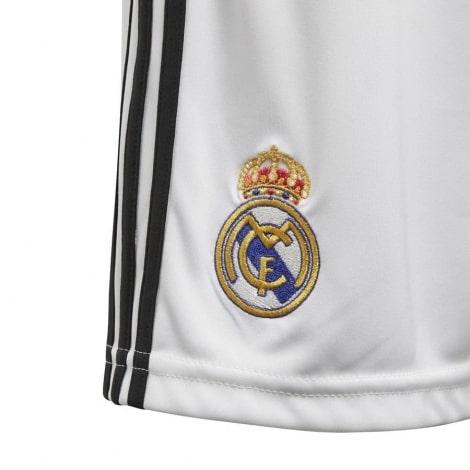 Детская домашняя форма Реал Мадрид 18-19 c длинными рукавами шорты герб клуба