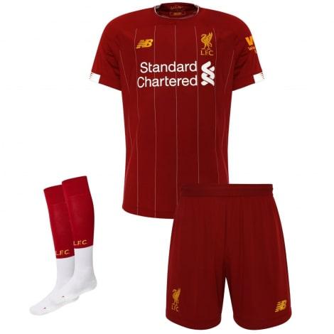 Детская домашняя футбольная форма Салах 2019-2020 футболка шорыт и гетры спереди