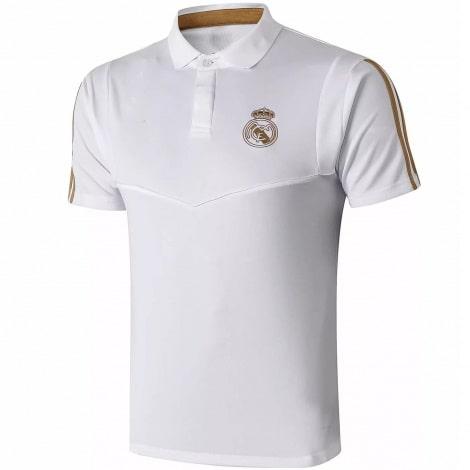 Футболка поло Реал Мадрид бело-золотая 2019-2020