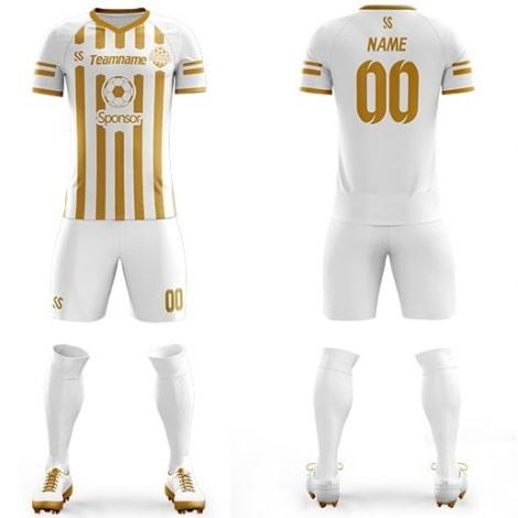 Футбольная форма бело желтого цвета в полоску на заказ