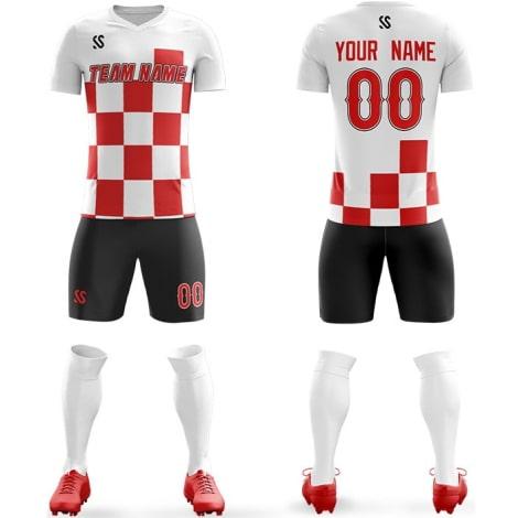 Футбольная форма бело красного цвета Квадраты на заказ