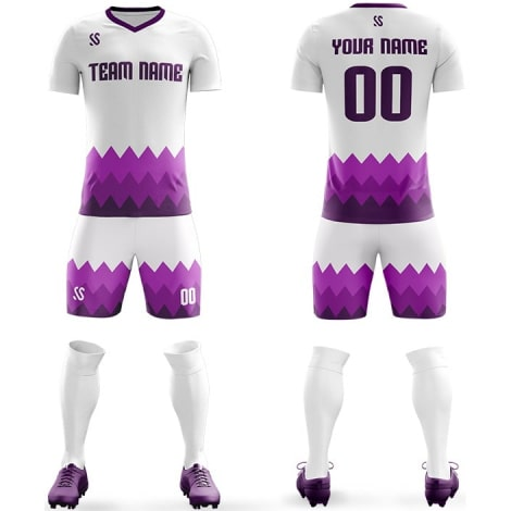 Футбольная форма бело фиолетового цвета Острые волны на заказ