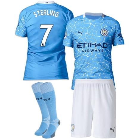 Детская домашняя футбольная форма Рахим Стерлинг 20-21