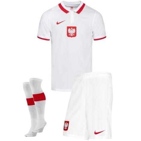Домашний комплект детской формы Польши на ЕВРО 2020-21 Левандовски