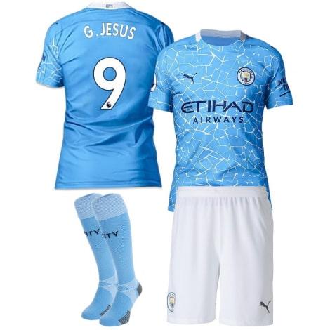 Детская домашняя футбольная форма Габриэль Жезус 20-21 футболка шорыт и гетры