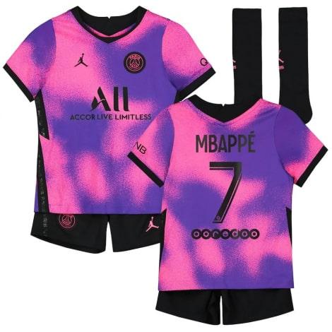 Детская четвертая форма ПСЖ Мбаппе 2020-2021 футболка шорты и гетры