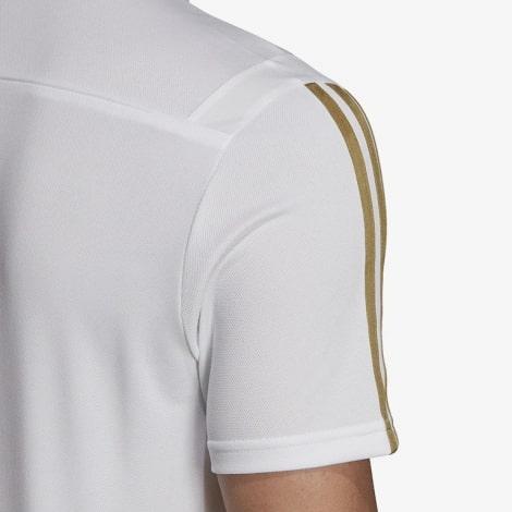 Футболка поло Реал Мадрид бело-золотая 2019-2020 рукав