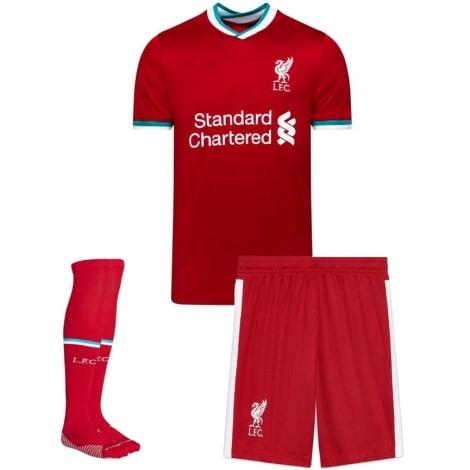 Комплект детской домашней формы Ливерпуля 2020-2021 футболка шорты и гетры