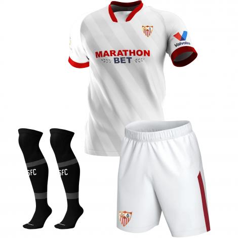 Комплект детской домашней формы Севильи 2020-2021 футболка шорты и гетры