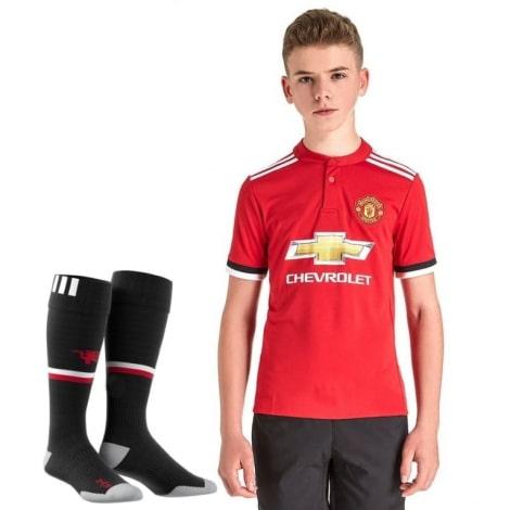 Детская домашняя футбольная форма Манчестер Юнайтед 2017-2018 футболка, шорты и гетры