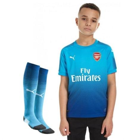 Детская гостевая футбольная форма Арсенала 2017-2018 футболка шорты и гетры