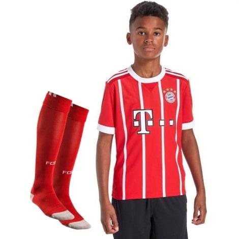 Детская домашняя футбольная форма Баварии 2017-2018 футболка шорты и гетры