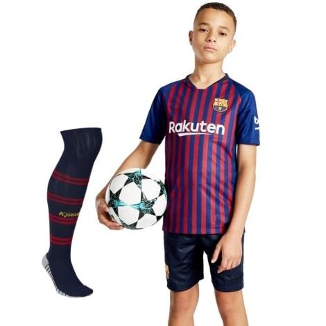 Комплект детской домашней формы Барселоны 2018-2019 футболка шорты и гетры