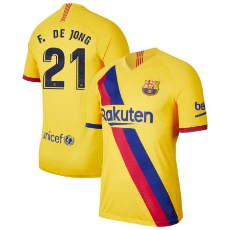 Гостевая футболка Барселоны 2019-2020 Фрэнки Де Йонг номер 21