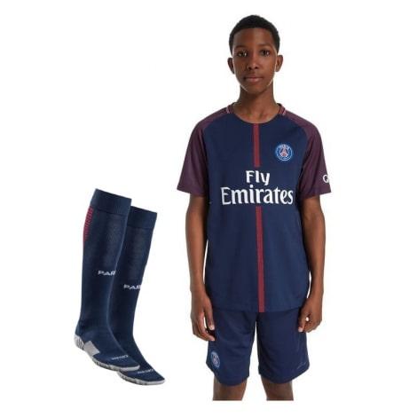 Детская домашняя футбольная форма ПСЖ 2017-2018 футболка, шорты и гетры