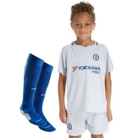 Детская гостевая футбольная форма Челси 2017-2018 футболка, шорты и гетры