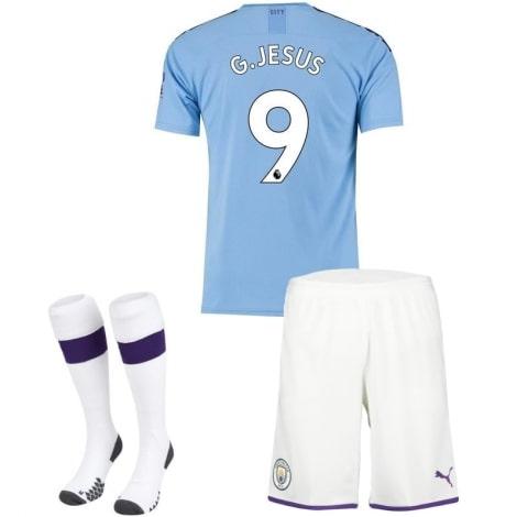 Детская домашняя футбольная форма Габриэль Жезус 19-20 номер 9 футболка шорты и гетры