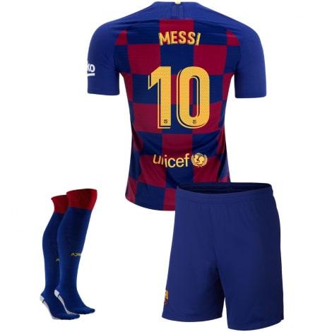 Детская домашняя футбольная форма Месси 2019-2020 футболка шорты и гетры
