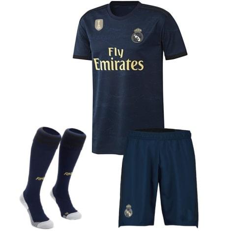 Детский комплект гостевой формы Реал Мадрид 2019-2020 футболка шорты и гетры