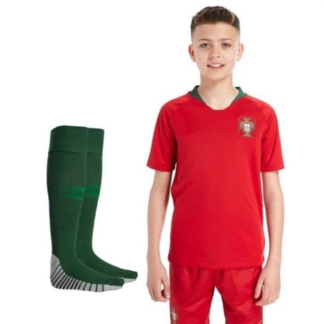 Детский комплект домашней формы Португалии на ЧМ 2018 футболка шорыт и гетры