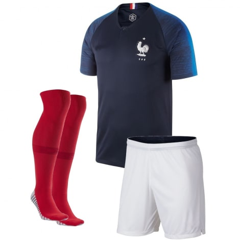 Детская домашняя футбольная форма Франции на ЧМ 2018 футболка шорты и гетры