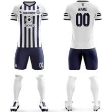 Футбольная форма сине белого цвета в полоску на заказ