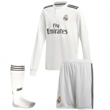 Взрослая домашняя форма Реал Мадрид 18-19 c длинными рукавами футболка шорты и гетры