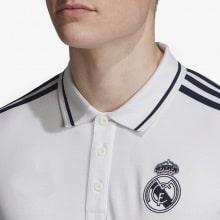 Футболка поло Реал Мадрид бело-синяя 2019-2020 вблизи