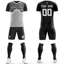 Футбольная форма черно белого цвета Ромбики на заказ