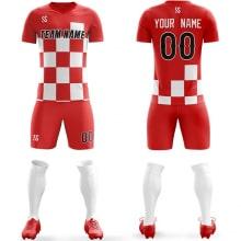 Футбольная форма красно белого цвета Квадраты на заказ
