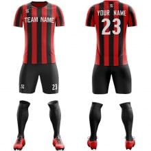 Футбольная форма черно красного цвета в Полоску на заказ