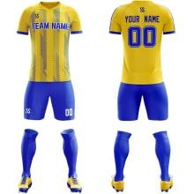 Футбольная форма сине желтого цвета косые линии на заказ