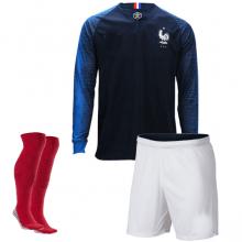 Детская домашняя форма Франции ЧМ 2018 длинные рукава футбокла шорыт и гетры