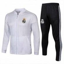 Взрослый черно-белый костюм Реал Мадрид 18-19 кофта и штаны