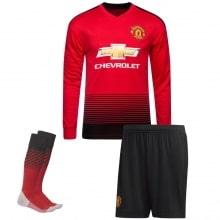 Детская домашняя форма Манчестер Юнайтед 18-19 c длинными рукавами футболка шорты и гетры